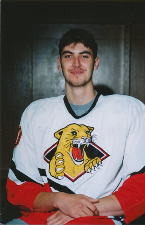 Chara in his Prince George Cougars Jersey in the 1996-1997 season.