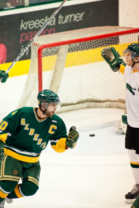 University of Alberta Golden Bears captain Tyler Metcalfe celebrates a goal. Credit: University of Alberta Golden Bears