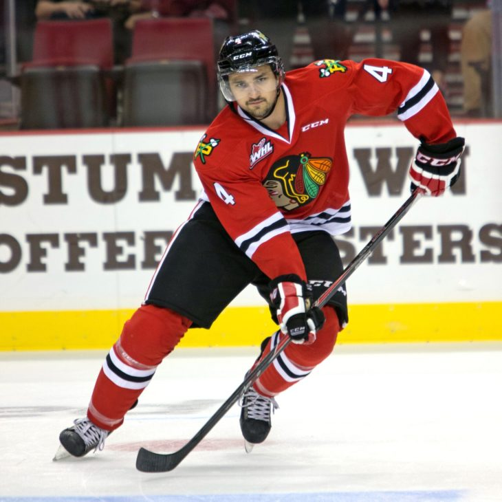Josh Hanson calling for the puck in 2012-13 for the Winterhawks