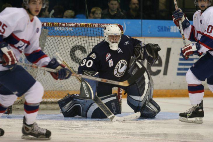 Khudobin in net for the Saskatoon Blades in 2005-06.