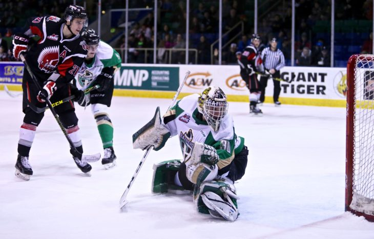 Parenteau making a big save while with the Raiders in the 2015-16 season.