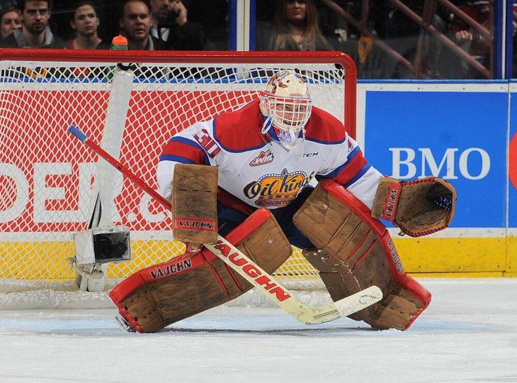Jarry in net for the Edmonton Oil Kings in the 2014-15 season.