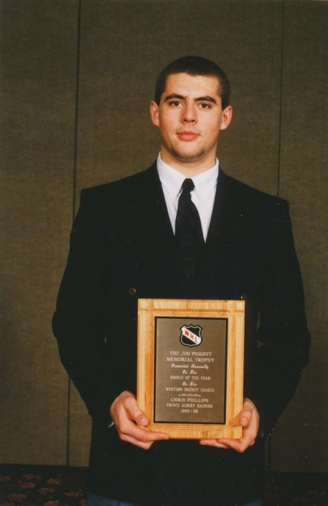 Phillips with the Jim Piggot Memorial Trophy for WHL Rookie of the Year in 1994
