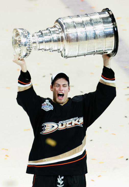 ANAHEIM, CA - JUNE 06: Ryan Getzlaf #15 of the Anaheim Ducks celebrates lifting the Stanley Cup after defeating the Ottawa Senators in Game Five of the 2007 Stanley Cup finals on June 6, 2007 at Honda Center in Anaheim, California. The Ducks defeated the Senators 6-2 to win the Stanley Cup Finals 4 games to 1. (Photo by Jeff Gross/Getty Images)